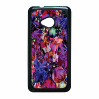 Lush Floral Pattern Beaming Orchid Purple HTC One M7 Case
