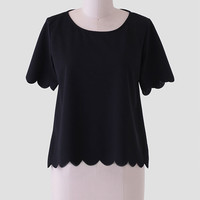 Just In Love Scalloped Blouse In Black