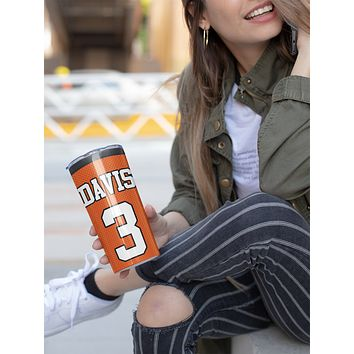 Personalized Football Jersey Tumbler Water Bottle Stainless Steel With Straw Vacuum Lid Foot Ball Custom Mom Dad Football Coach