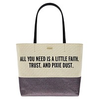 Disney Parks Peter Pan Canvas Glitter Tote by Kate Spade New with Tag