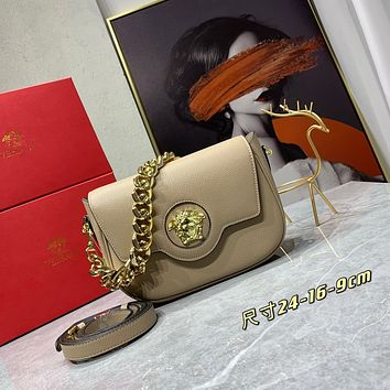 VERSACE WOMEN'S 066 24 MINI SIZE LEATHER INCLINED CHAIN SHOULDER BAG BEIGE