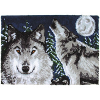 Wonderart Midnight Wolves Latch Hook Rug Kit Kids Craft Kit 27 x 40 Square Made in the USA