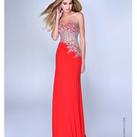 Red Jersey & Paisley Beaded Strapless Prom