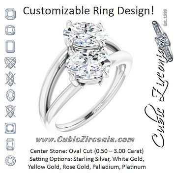 Cubic Zirconia Engagement Ring- The Melaine (Customizable Two Stone Double Oval Cut Design with Split Bypass Band)