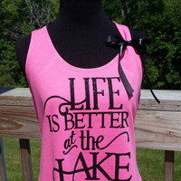 Women's Life is Better at the Lake-Flowy Racerback Tank Top