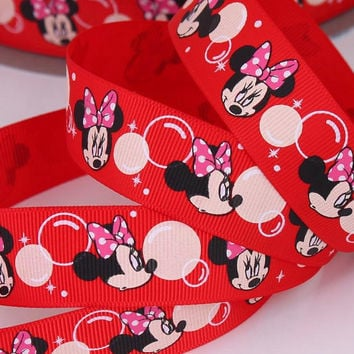 Red Minnie Mouse Bubble  Printed Grosgrain Sewing Craft Ribbon