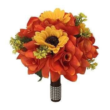 "9"" Bouquet - Orange Roses with Yellow Sunflowers Perfect for fall (Pick Ribbon color)-artificial flower"