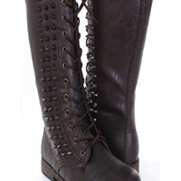 Dark Brown Faux Leather Spike Studded Combat Boots @ Amiclubwear Boots Catalog:women's winter boots,leather thigh high boots,black platform knee high boots,over the knee boots,Go Go boots,cowgirl boots,gladiator boots,womens dress boots,skirt boots,pink b