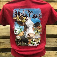 Southern Chics Holy Cow Sunflowers Farm Girlie Bright T Shirt