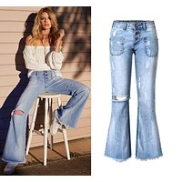 RETRO BUTTON-UP WIDE-LEG JEANS