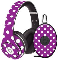 White Polka Dot on Purple Decal Skin for Beats Studio Headphones & Carrying Case by Dr. Dre