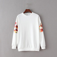 Sleeve Floral Print Sweater
