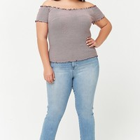 Plus Size Striped Lettuce Edge Cropped Tee