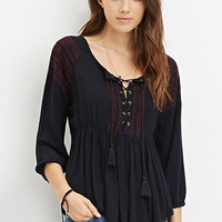 Lace-Up Embroidered Peasant Top