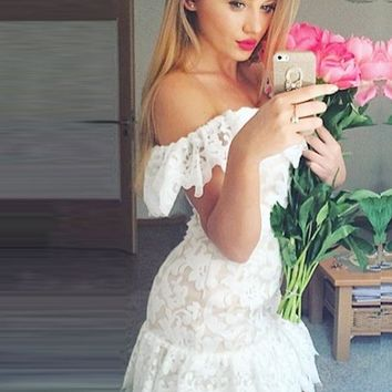White Lace Off Shoulder Bodycon Homecoming Dresses