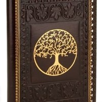 Tree of Life Brown Gold Stitched Italian Lined Leather Journal 6.5 x 9.25