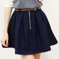 Navy Blue Woolen High Waisted Mini Skirt