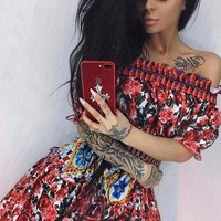 Red Floral Ruffle Bandeau Short Sleeve Polyester Mini Dress