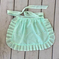 Mint Apron for Birthday Party  Eyelet Cotton Girls ruffled apron, French Maid apron, House warming gift Old Fashioned ruffled cafe Apron
