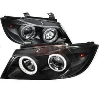 Bmw 05-08 E90 Projector Headlight Black Housing With Daylight Ring Kit