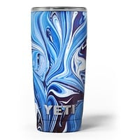 Blue and White Blended Paint - Skin Decal Vinyl Wrap Kit compatible with the Yeti Rambler Cooler Tumbler Cups