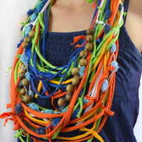 T shirt Scarf. Wood Chain. Braided Scarf. Easter Colors. Bright Colors.