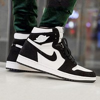 Air Jordan 1 High WMNS AJ1 fluff black and white cross high top shoes