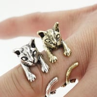 Mini Cat Ring Anel Anillos Gato Bague anillo gato Animales Animal Cat Rings For Women Bague