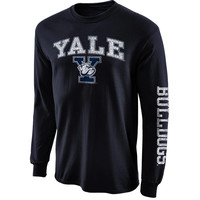 Yale Bulldogs New Agenda Distressed Arch & Logo Long Sleeve T-Shirt - Navy Blue