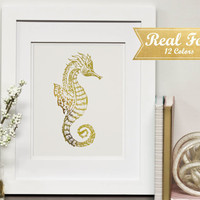 Real Gold Foil Print With Frame (Optional) - Golden Seahorse, Beach Art, Beachy Decor, Housewarming Gift, Ocean Wall Decor, Gifts, Office