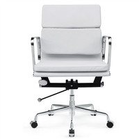 Mid Century Modern Soft Conference Office Chair Mid Back White Leather