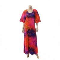 Vintage 70s Psychedelic Hawaiian Caftan Dress 1970s Two Potato Mod Flower Power Boho Hippie Muumuu Barkcloth Tiki Party Dress / size L