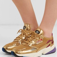 ADIDAS ORIGINALS Falcon metallic mesh and faux leather sneakers