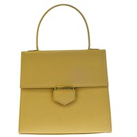 Authentic YVES SAINT LAURENT Logos Hand Tote Bag Leather Beige Gold-Tone 66ED875