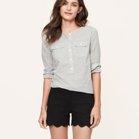 Torched Collarless Softened Shirt | LOFT