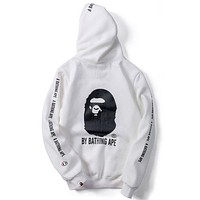Champion x Bape co-branded couple casual casual hooded crew neck sweater white