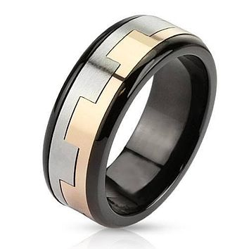 Castle Wall - FINAL SALE Tri Tone Black Silver Rose Gold Stainless Steel Square Link Pattern Spinner Ring