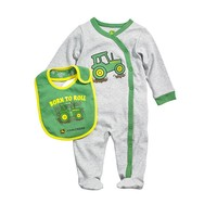 John Deere ''Born To Roll'' Tractor Coverall - Baby Boy, Size: