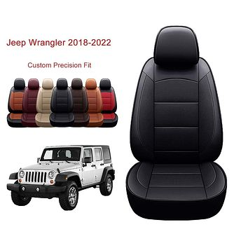 OASIS AUTO Wrangler JL 2018 2019 2020 2021 2022 Unlimited, Sahara, Sport, X, Custom Exact Fit PU Leather Seat Covers Accessories Full Set (4DR, Black) 2018-2022 Wrangler 4DR
