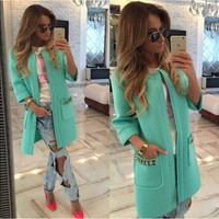 Candy Colors Scoop 9/10 Sleeves Long Loose Coat