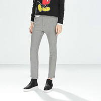 Houndstooth Knitted Zipper Pants With Pockets