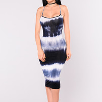 In The Morning Tie Dye Dress - Navy
