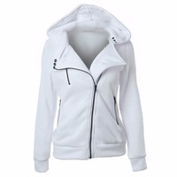 Women hoodies sweatshirts zipper V Neck Long Sleeve Warm