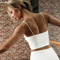 Push Up Padded Women Sports Bra Open Back Strappy Yoga Tank Top Shirts White Workout Sports T Shirt Backless Crop Tops Gym Bra