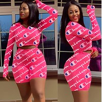 Champion tide brand female print letter skirt set two-piece