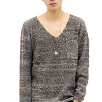 Deep V-Neck Knitted Pullover Sweater