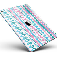 "Pink Green Teal Vertical Pattern Full Body Skin for the iPad Pro (12.9"" or 9.7"" available)"