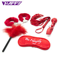 5pcs/set sex toys for couple flirt toys adult games Sex Toy role-playing fun suit Sexual bondage props size Plush/PU handcuffs