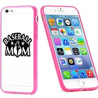 Popular Apple iPhone 6 or 6s Baseball Mom Softball Cute Gift for Teens TPU Bumper Case Cover Mobile Phone Accessories Hot Pink