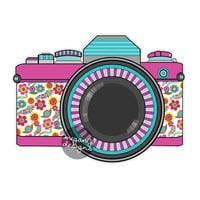 Pink Retro Camera Decal - Colorful Vintage Retro Camera Bumper Sticker Laptop Decal Teal Flowers Cute Car Decal Hippie Boho Photographer